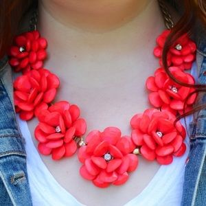 J. Crew Beaded Red Rose Floral Statement Necklace